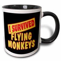 3dRose I Survived Flying Monkeys Survial Pride And Humor Design - Two Tone Black Mug, 11-ounce