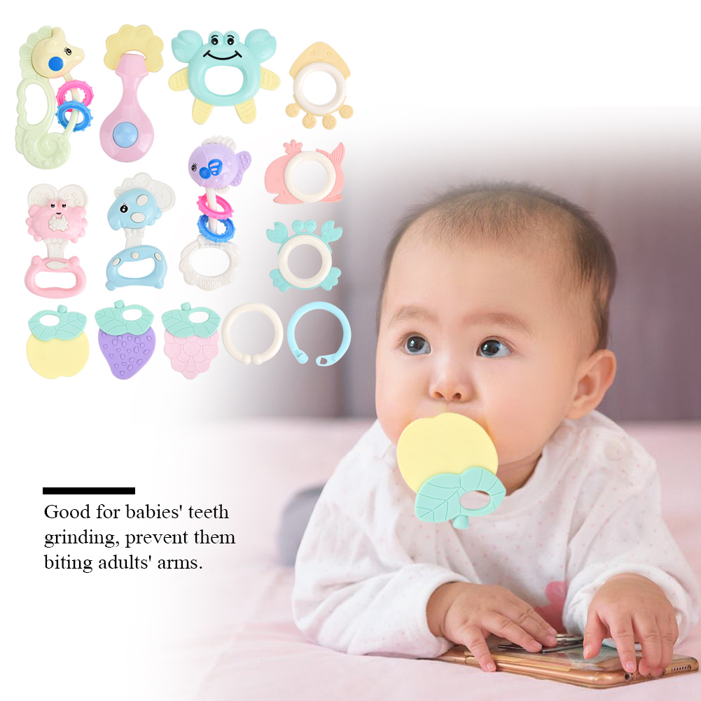 Zerone 14PCS/Set Baby Portable Teether with Rattle Music Bell  Animals Educational Toys Infrant Gift, Educational Teether Toy,Baby Teether