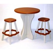 3 Pc Outdoor Pub Set in Redwood and White Plastic