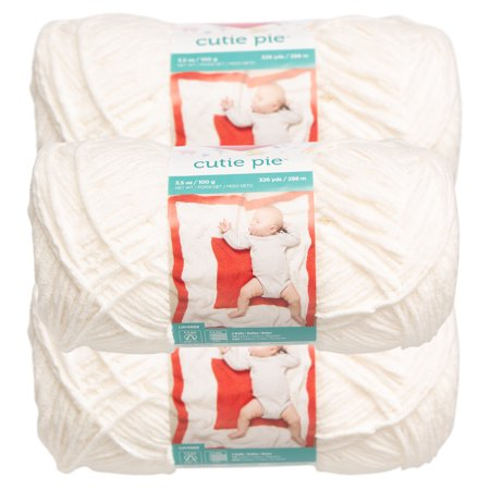 Red Heart (3 Pack) Cutie Pie Yarn Skeins #3 Light Baby Soft For Sweaters Blankets Plush Lightweight Baby Soft Yarn Pastel