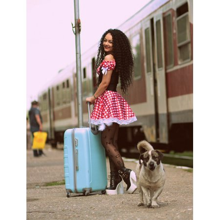 Canvas Print Dog Baggage Peron Girl Train Station Dress Stretched Canvas 10 x 14