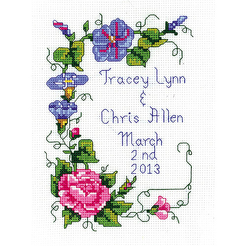 "Wedding Floral Mini-Counted Cross Stitch Kit, 5"" x 7"" 14-Count"