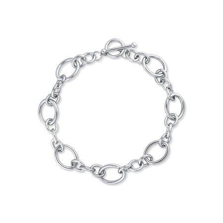 Rhodium Flashed Base Metal Open Oval Toggle Fashion Statement Chain Necklace - Plated Base Metal Chain
