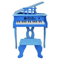 30-Key Two Tone Blue Digital Baby Grand Piano & Be - Blue