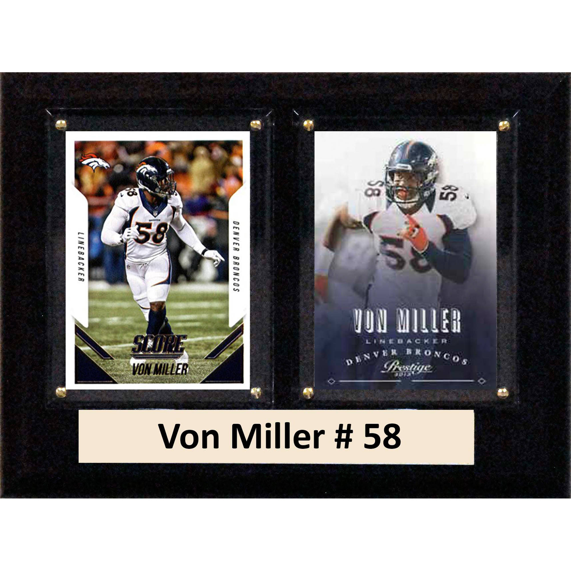 C&I Collectables NFL 6x8 Von Miller Denver Broncos 2-Card Plaque