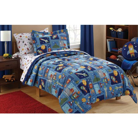 mainstays kids space bed in a bag coordinating bedding set. Black Bedroom Furniture Sets. Home Design Ideas