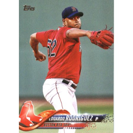2018 Topps #43 Eduardo Rodriguez Boston Red Sox Baseball - Alex Rodriguez Signed Baseball