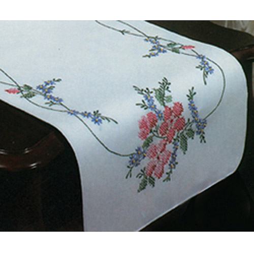 Stamped Dresser Scarf For Embroidery-Wild Rose Multi-Colored