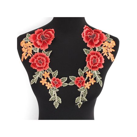 - 2 Rose Flower Motif Collar Sew on Patch Badge Embroidered Applique Patch for Bag Hat Jeans Dress Diy Lot