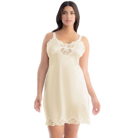Ilusion 1112 - Plus Size Lace Inset Satin Full Slip (Beige, Size (Slips With Lace Meant To Be Seen)