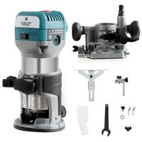 1.25HP Palm Router Kit Variable Speed Woodworking Tool w/ Fixed Base&Plunge Base