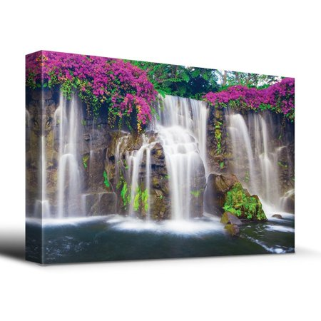 Wall26 Misty Waterfall Picturesque Flowers