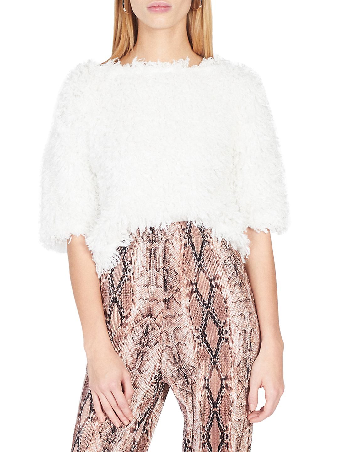 Fluffy Faux Fur Sweat Top