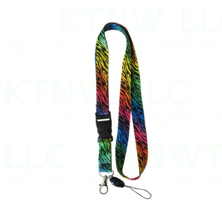 Animal Print Key Chain Lanyard with Quick Release Key Clip and Cell Phone Strape - Zebra Rainbow - Zebra Rainbow