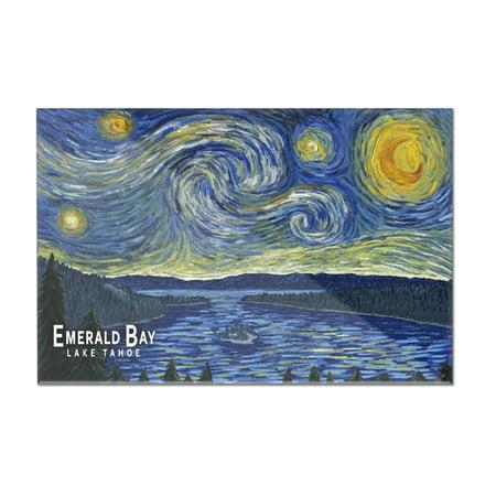 Emerald Bay State Park  California   Van Gogh Starry Night   Lantern Press Artwork  12X8 Acrylic Wall Sign