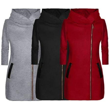 Women winter high collar hooded colorblock zipper long sleeve coat jacket, Black, L](Long Black Hooded Cloak)