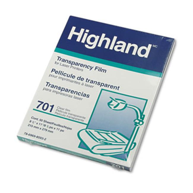 Highland 701 Computer Graphics Film- Clear- 8 1/2 x 11- 50/Box
