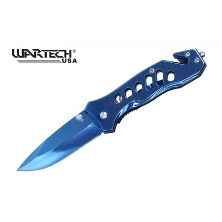 Knife Mirror (Spring-Assist Folding Knife Wartech Blue Mirror Blade Rescue EDC - 6.5