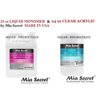 32 oz Liquid Monomer & 24 oz Clear Acrylic Powder Set Mia Secret MADE IN USA+ Free Temporary Body Tatoo! Usa Body Powder