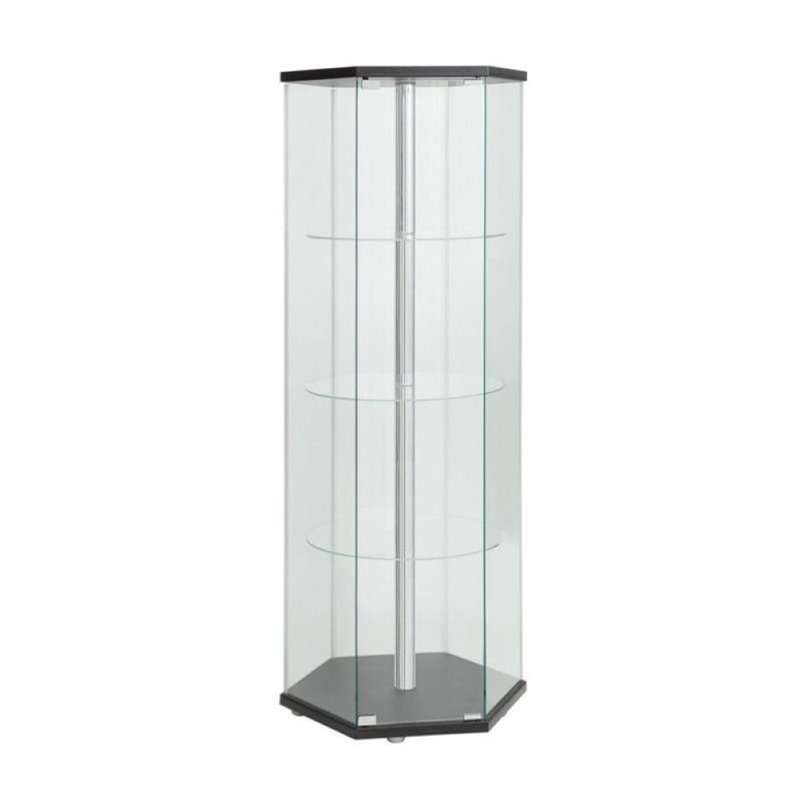Bowery Hill Hexagon Glass Curio Cabinet in Black by Bowery Hill