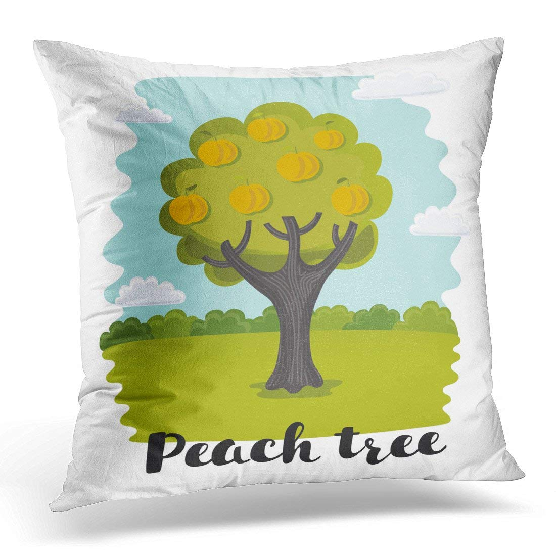USART Orange Apricot of Peach Tree on Summer Garden and Lettering Name in Childish Kids Style Yellow Branch Pillow Case Pillow Cover 18x18 inch