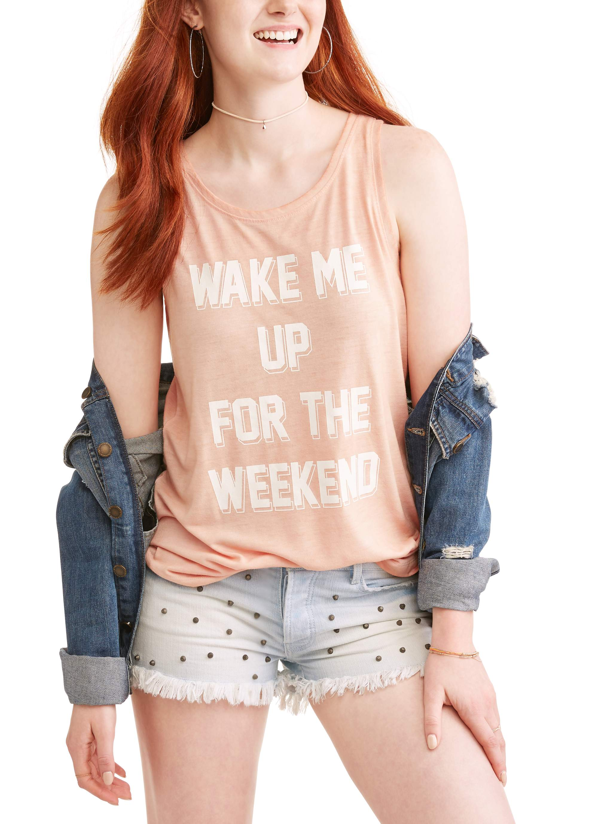 "Juniors' ""Wake Me Up For The Weekend"" Pigment Dyed Graphic Muscle Tank Top"