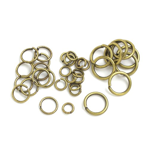Assorted Jump Rings, 240pc, Bronze