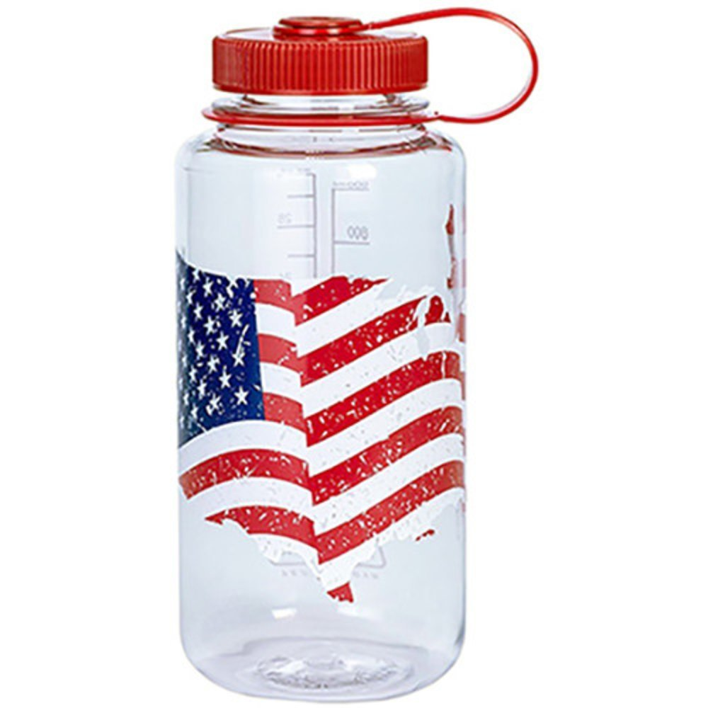 Nalgene BPA Free Tritan Wide Mouth Water Bottle, 32 Ozs, Usa Flag