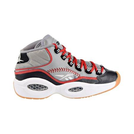 Reebok Question Mid Practice Big Kids' Shoes Grey/Black/White/Scarlet v70407 (Scarlet Kids Shoes)