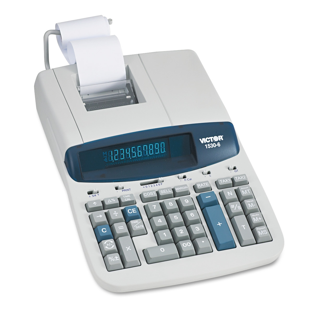 Victor 1530-6 Two-Color Ribbon Printing Calculator, Black/Red Print, 5 Lines/Sec