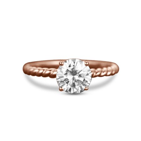 Huge 2 Carat Round cut Moissanite solitaire engagement ring in 14k Rose Gold