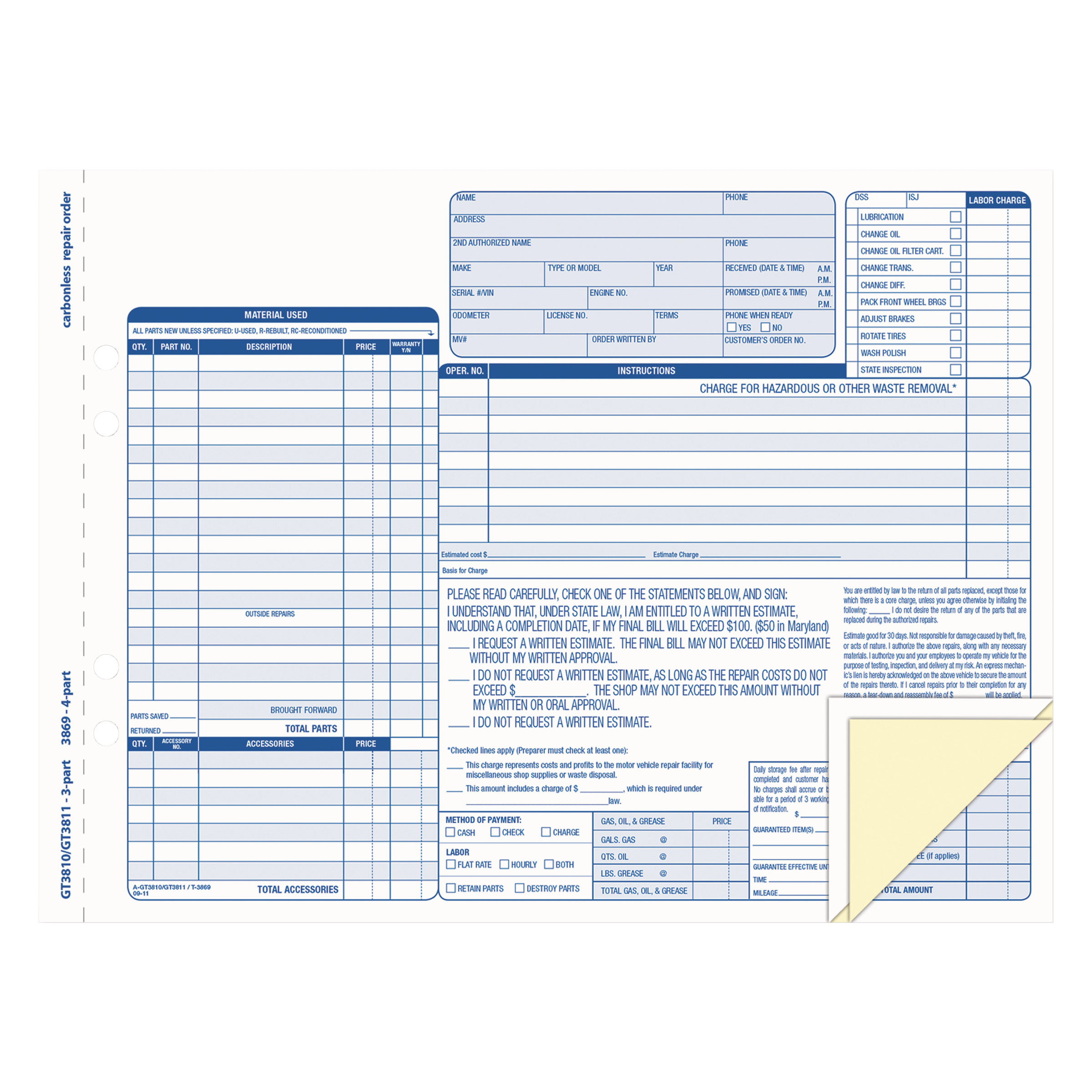 Tops Auto Repair Four-Part Order Form, 8 1/2 X 11, Four-Part