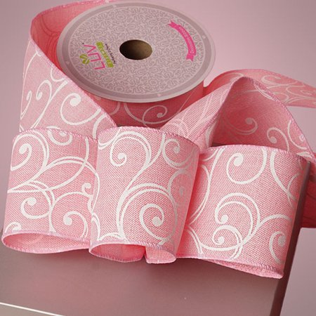 Pink Canvas Like 2-1/2 inches x 10 yards White Swirls Wired Decorative -