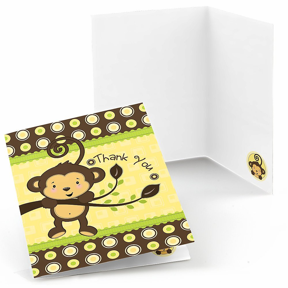 Monkey - Baby Shower or Birthday Party Thank You Cards (8 count)