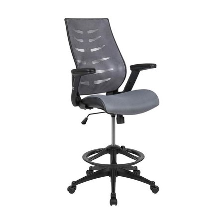 Flash Furniture High Back Dark Gray Mesh Spine-Back Ergonomic Drafting Chair with Adjustable Foot Ring and Adjustable Flip-Up Arms [BL-ZP-809D-DKGY-GG]
