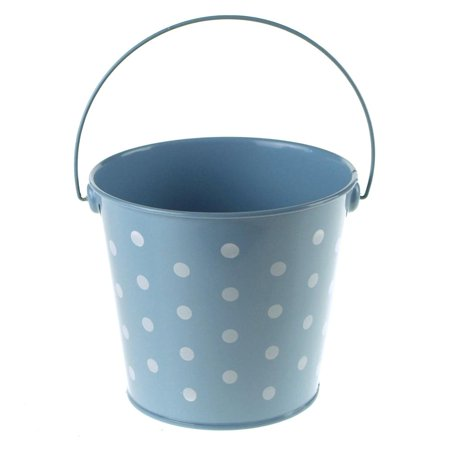 polka dot metal pail bucket party favor, 5-inch, light blue - Colored Metal Buckets