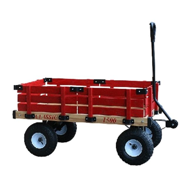 Millside Industries 1500-410 20 inch x 38 inch Wooden Wagon with 4 inch x 10 inch Tires