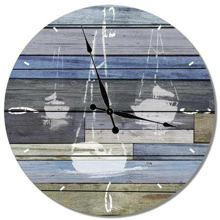 Image of Day Dream HQ TSB16 16 in. Three Sail Boats Cedar Wall ClockWall Art