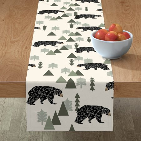 Image of Table Runner Bear Woodland Camping Hunting Baby Geo Animal Cotton Sateen