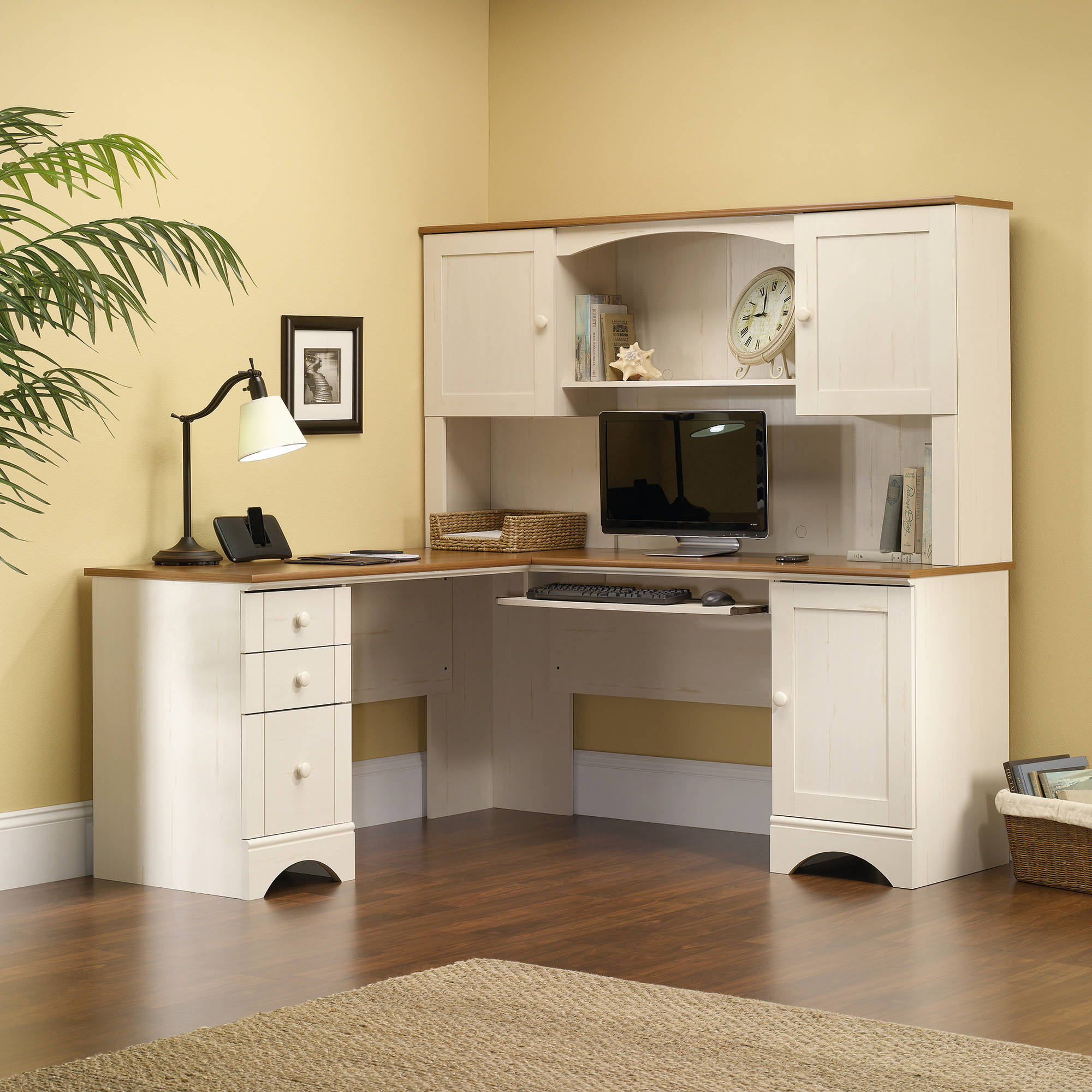 Sauder Harbor View Hutch Antiqued White Finish