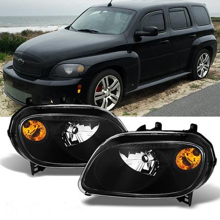 Fits 06-11 Chevy HHR Amber Black Bezel Headlights Headlamps Replacement Pair
