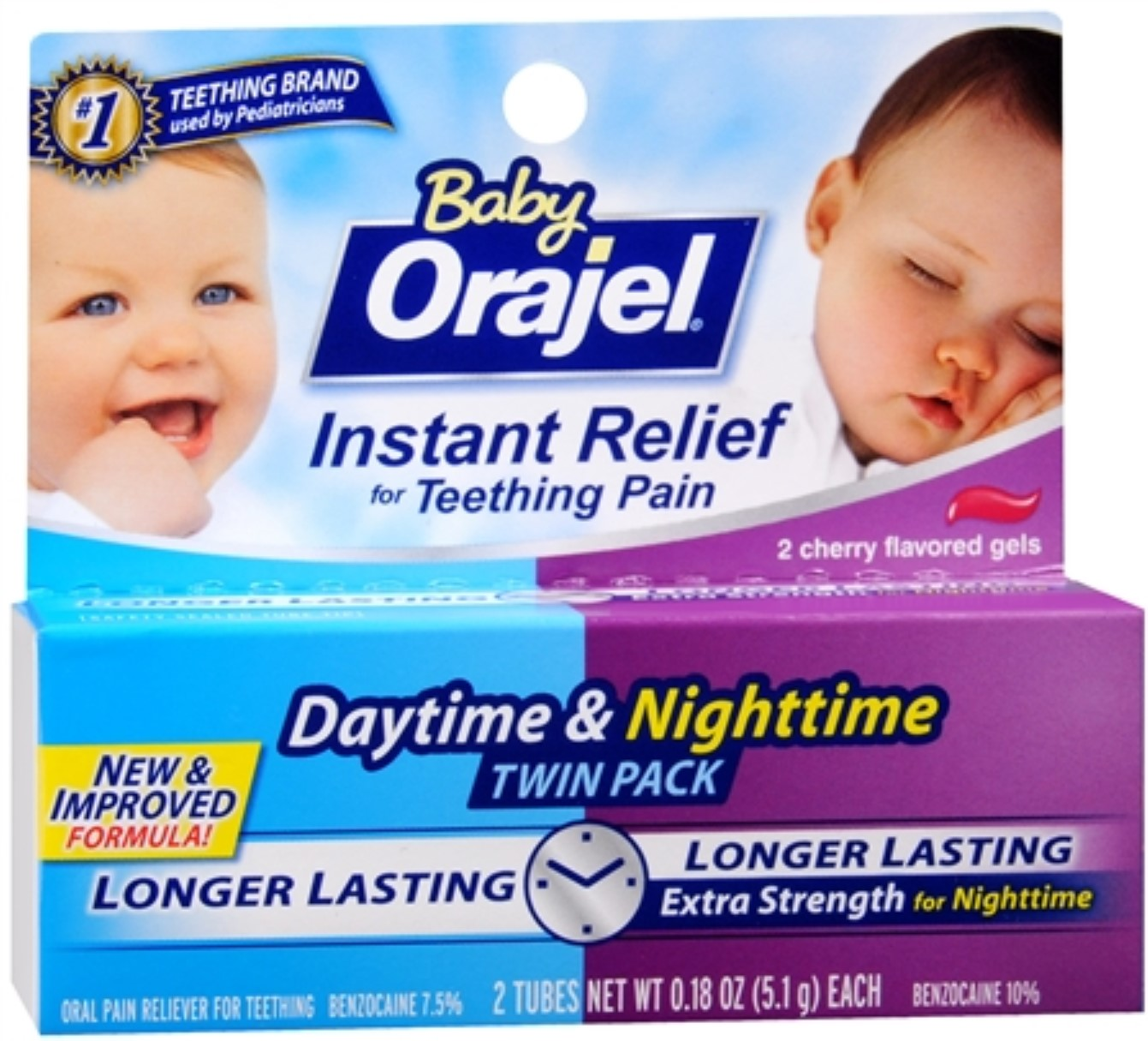 Baby Orajel Daytime & Nighttime Fast Teething Pain Relief 0.36 oz (Pack of 2)