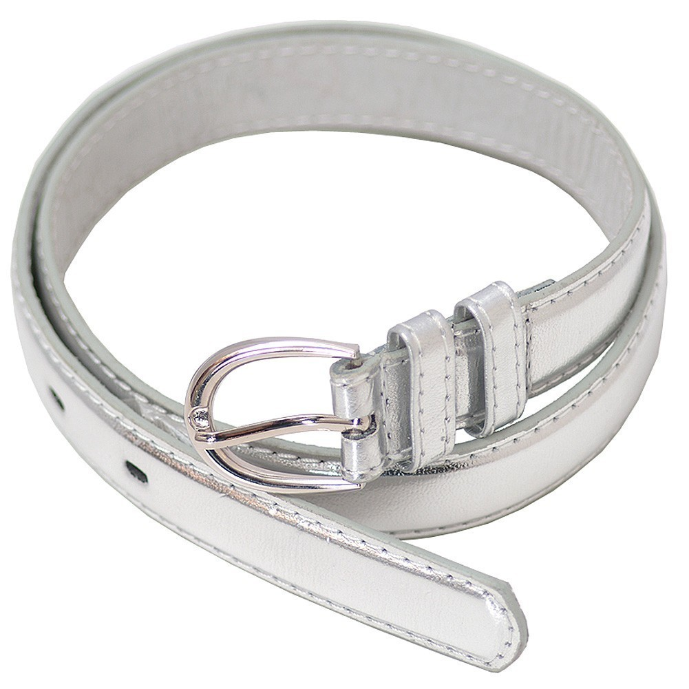 Little Girls Metallic Silver Trendy Leather Belt Size S-L