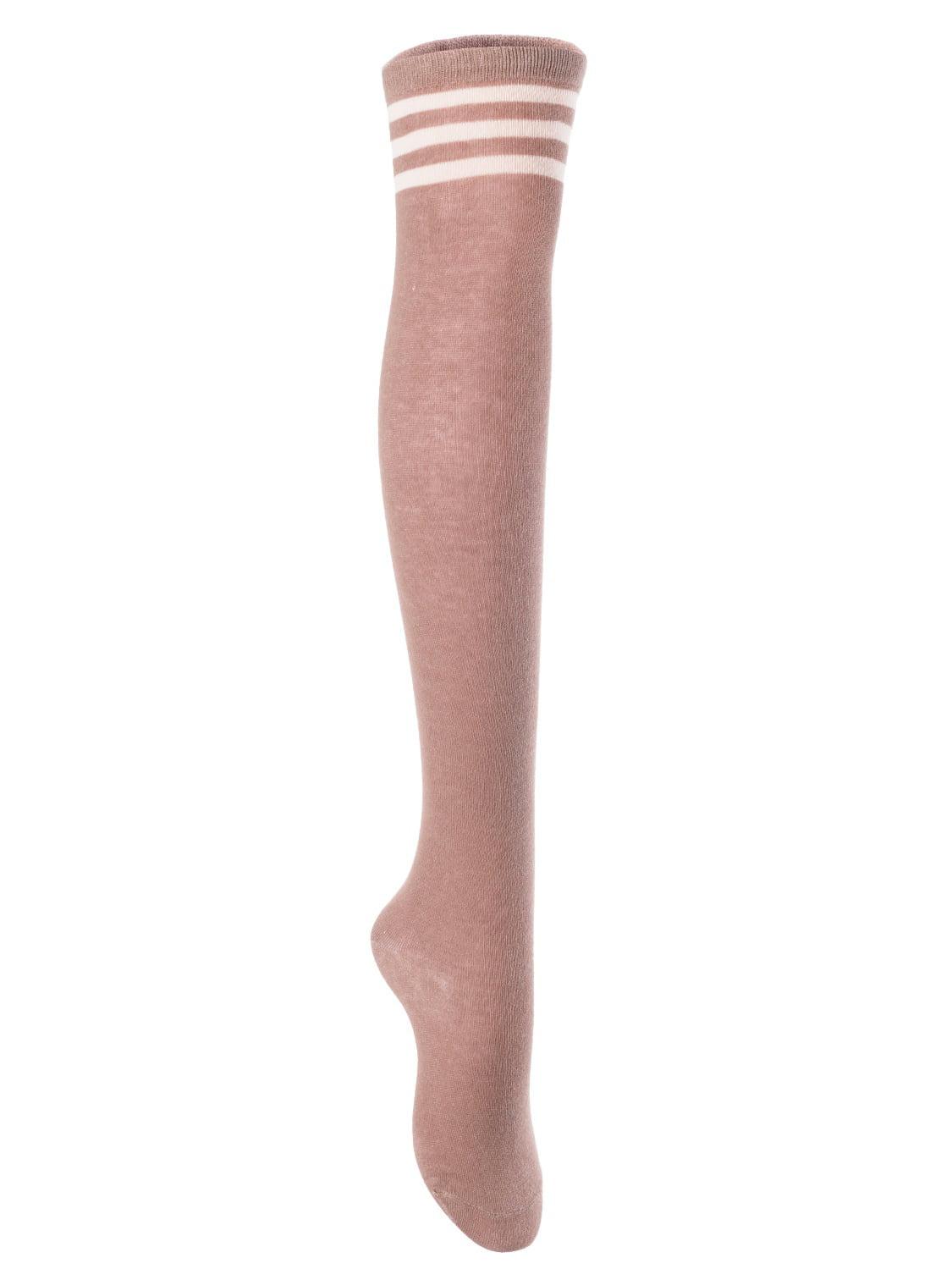Big Girls' Women's 1 Pair Over Knee High Thigh High Cotton Socks Leg Warmers J1022 Size L/XL(Navy) 4p1c6