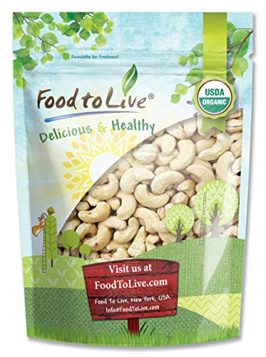 Food To Live Certified Organic Cashews W-240 (Whole, Raw) (8 Ounces) by Food To Live