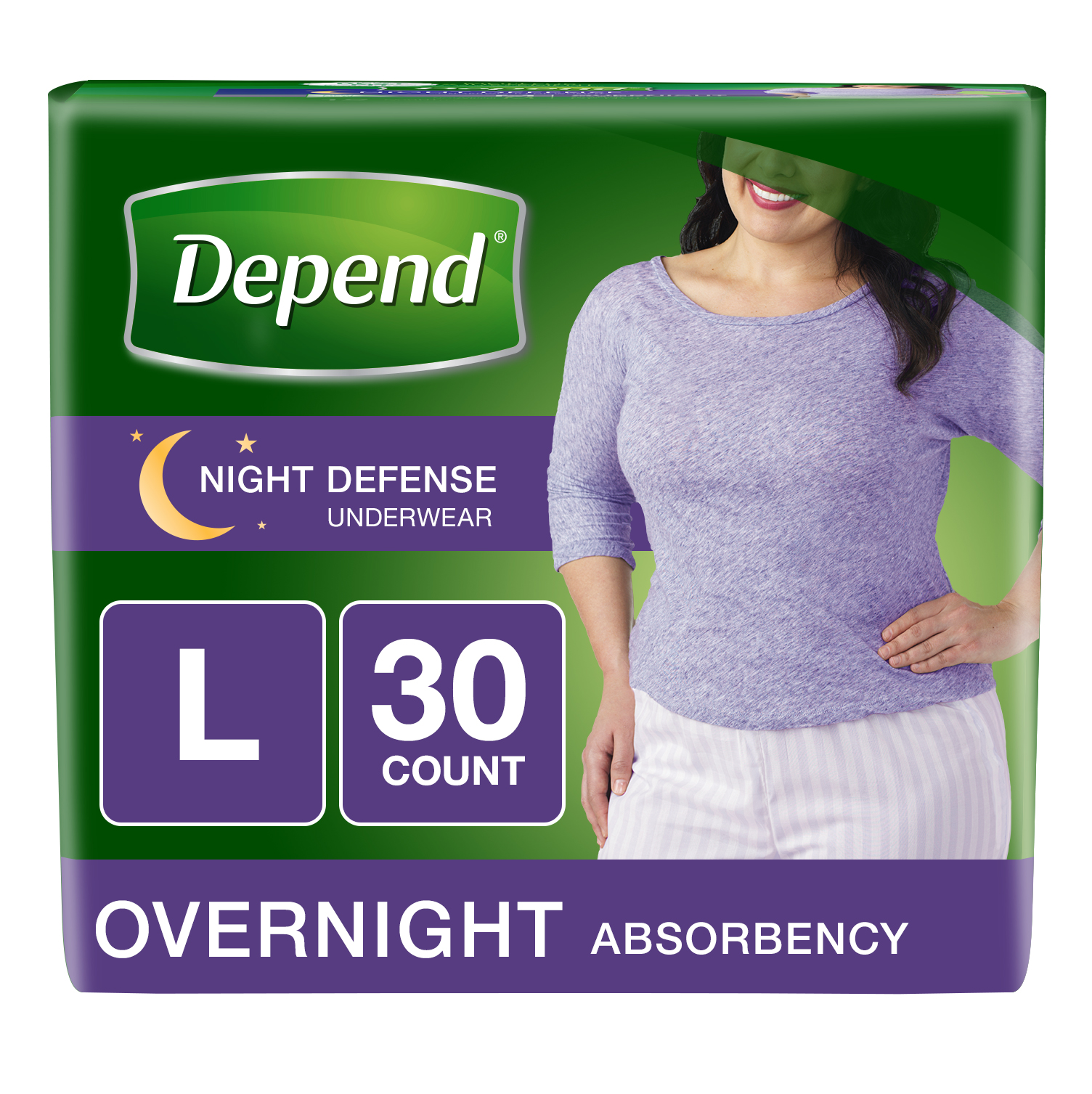 Depend Night Defense Incontinence Overnight Underwear for Women, L (Choose Your Count)