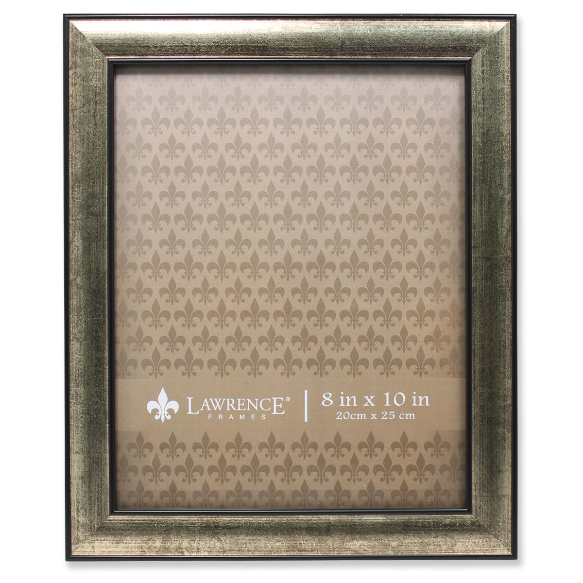 8x10 Domed Burnished Silver and Black Picture Frame by Lawrence Frames
