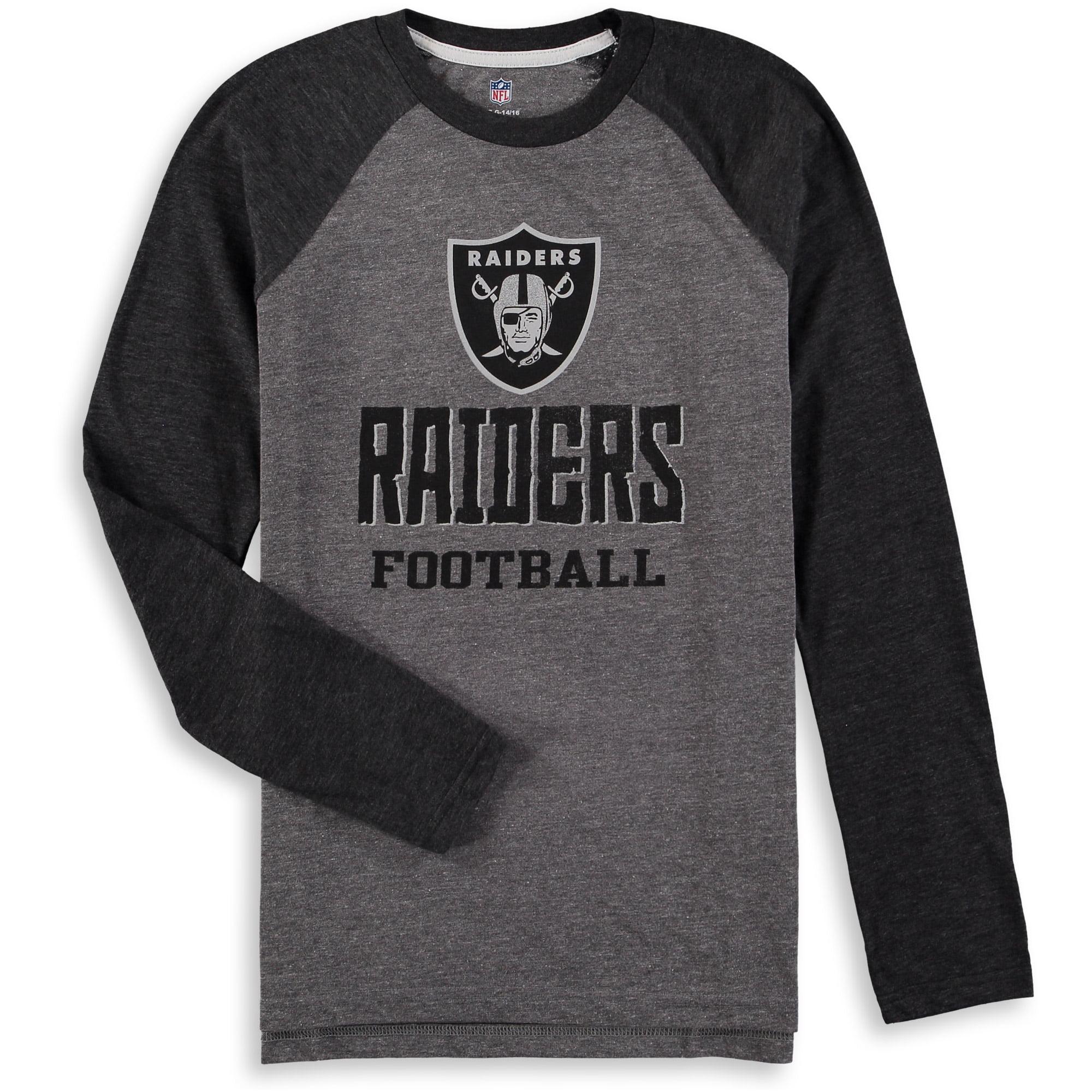 Oakland Raiders Youth Classic Gridiron Raglan Tri-Blend Long Sleeve T-Shirt - Heathered Gray/Heathered Black