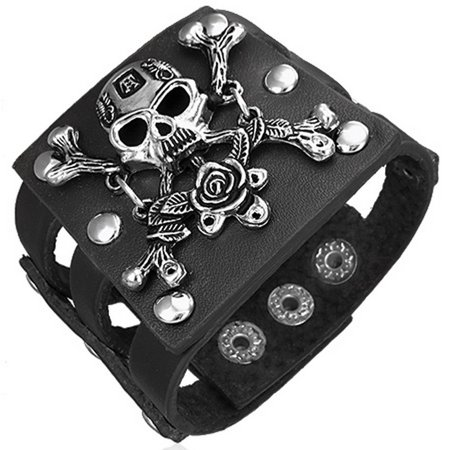 Black Leather Alloy Rose Pirate Skull Crossbones Snap Wristband Mens Bracelet