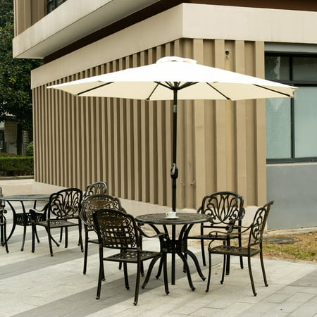 Ainfox 9FT Patio Umbrella Outdoor Table Umbrella Yard Garden Umbrella Folding Sunshade Sun Umbrella with Hand-cranking and Tilt  Waterproof UV-proof (Beige White) ()